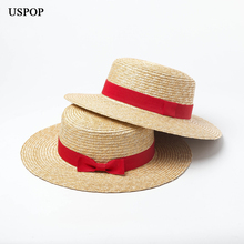 цена на USPOP 2019 new women natural straw hat wheat straw sun hat women summer flat top red bow-knot beach hat
