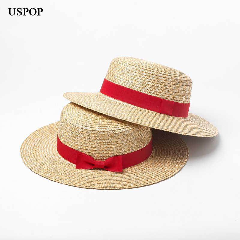 86dbe8db0 USPOP 2019 new women natural straw hat wheat straw sun hat women summer  flat top red