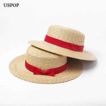USPOP new women natural straw hat wheat sun summer flat top red bow-knot beach