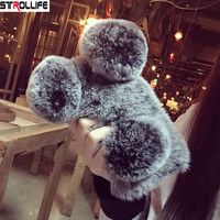 Luxury Fluffy Rabbit Hair Fuzzy Phone Cases For Iphone 7 7Plus 6 6s 8 8Plus Case