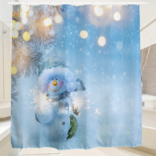 2016 Waterproof  Christmas Fireworks Snowman Polyester Shower Curtain Bath Bathing Sheer Curtain for Home Decorations