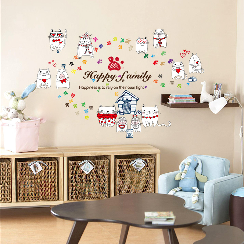 Cute Cat Fashion Wall Stickers Funny Cat Stickers Living Room Decor Tv Wall Decor Child Kids Bedroom Vinyl Home Decor Brc16