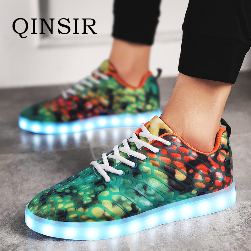 Usb Charge Led Shoes Couple Casual Shoes With Led Luminous Men Shoes Light Up Male Shoes Zapatos Mujer Fashion Lace Up Loafers Attractive Appearance Men's Casual Shoes Shoes