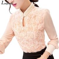 Flower Beaded Lace Tops 2017 Autumn Long Sleeve Chiffon Blouse Shirt Sexy Stand Collar Women Pure