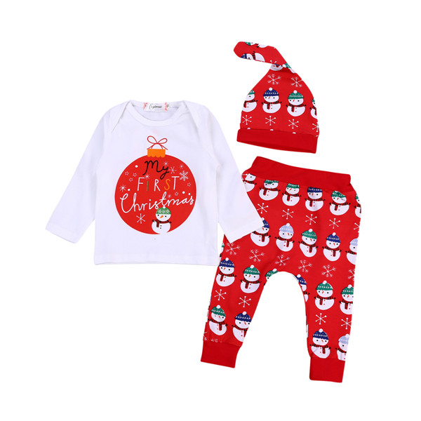 3pcs Baby Boy Girl Clothes MY FIRST CHRISTMAS Tops T-shirt+Long Pants Leggings +Hat Outfit Clothing Set 3pcs set cute newborn clothing set baby boy girls first christmas clothes infant romper pants hat outfit