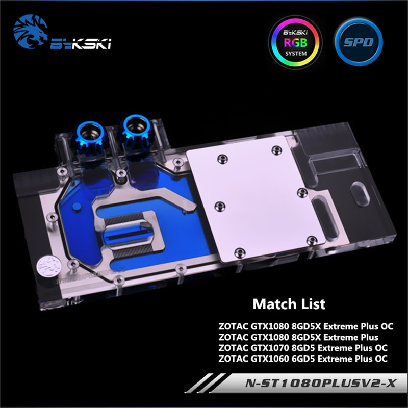 Bykski Full Coverage GPU Water Block For ZOTAC GTX1080/1070/1060 Extreme PLUS OC Graphics Card N-ST1080PLUSV2-X цена