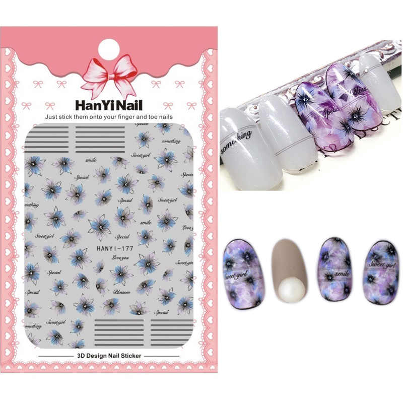 HY171-184 2018 New Summer Self-stick Nails Art Sticker Nail Wrap Sticker Tips Puple Line Flowers Moon Star Manicura stickers
