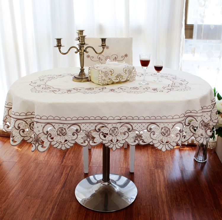2016 new hot sale high end european oval tablecloth round for Where can i buy table linens