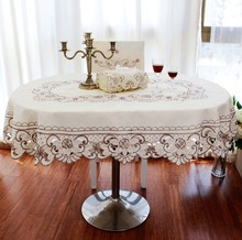 2016 New Hot Sale High End European Oval Tablecloth Round Table Cloth  Embroidery Table Cover Free Shipping