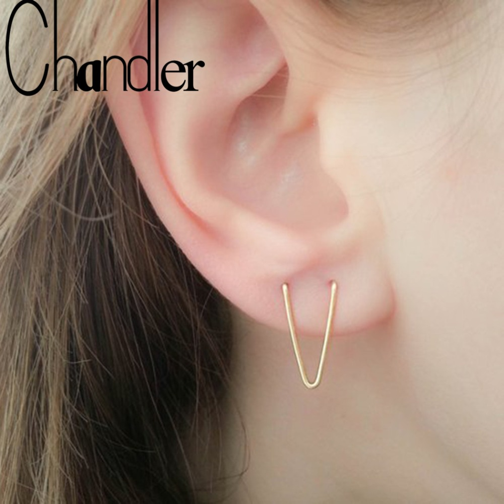 Us 0 63 50 Off Chandler Double Piercing Earring V Earrings Set Lobe Two Hole Geometrical Wire Thread In