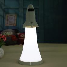 2 в 1 Свет Ночи Творческий Ракетно Форма USB Аккумуляторная Регулируемая Настольная Лампа Спальня Лампы Для Чтения с Функцией Фонарика