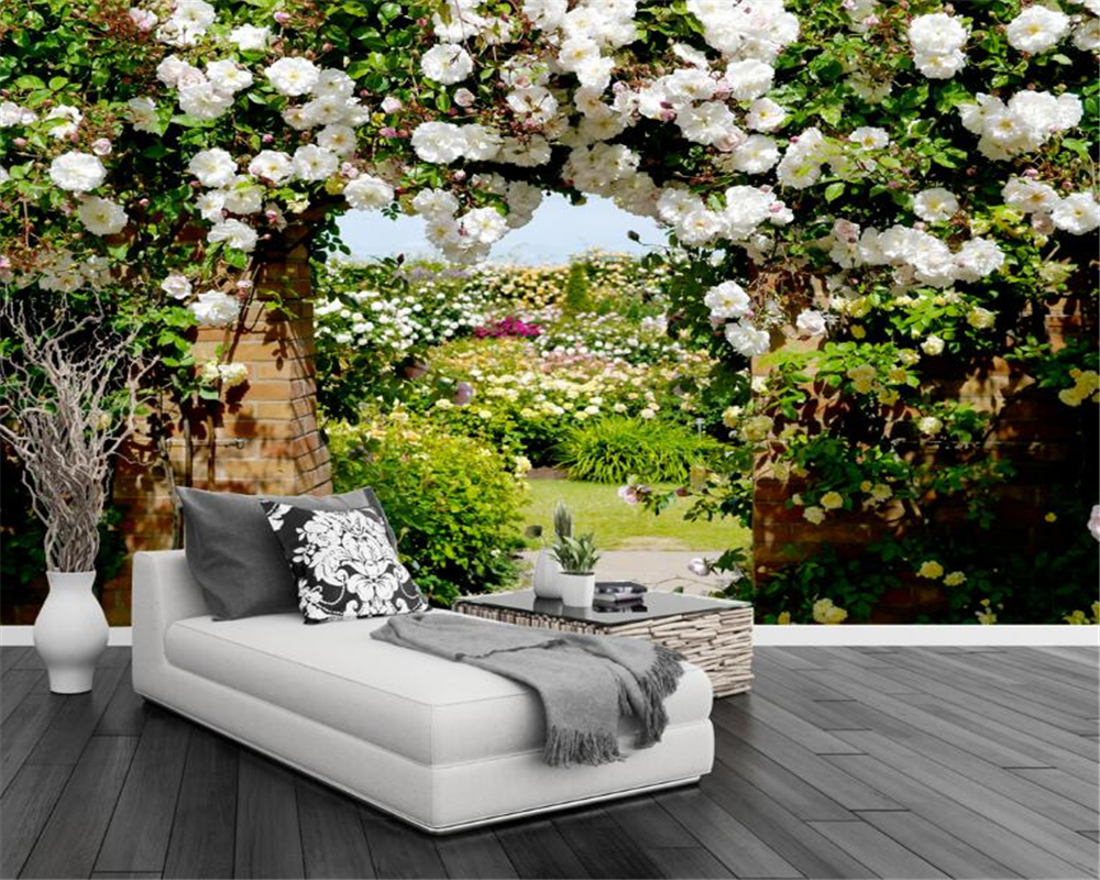 Beibehang 3D Photo Wallpaper Rose Corridor Pastoral Flower Mural Bedroom Living Room Sofa TV Background wallpaper for walls 3 d dirt road design 3 d large sitting room the bedroom room corridor screen maple mural wallpaper background picture papeles pintad