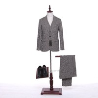 New Men Suit Jacket Plaid Wool Fabrics Herringbone Fashion Wedding Tuxedo Coat Designer Slim Fit Blazer