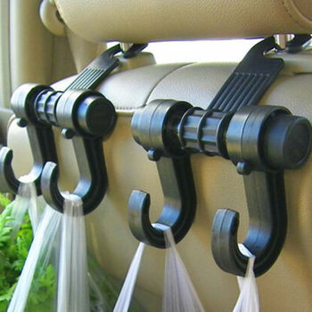 Car Seat Back Headrest Dual Strong Hook Holder Plastic Hanger Fit For Bags Clothing image