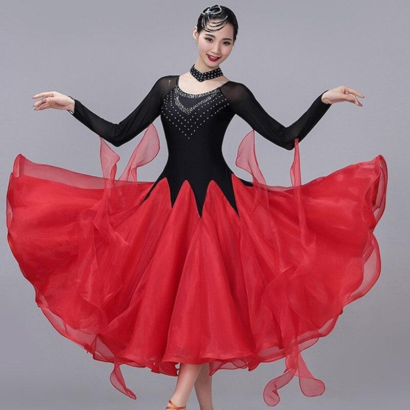 ballroom dress standard ballroom dance competition dresses kids standard dance dress dance wear women festival clothing red