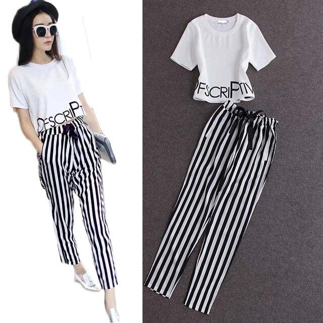 Fashion women 2 piece sets  suit crop tops letters print T-shirt striped harem pants tracksuit vestidos plus size S5469