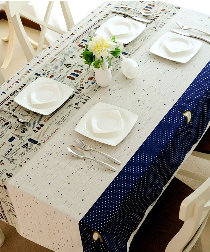 Printed Tower Postage Stamp Tablecloth Linen Cotton Restaurant Home Party Decoration Rectangular Table Cover Square Table 1035ZB