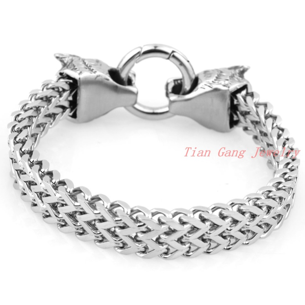 silver link solid square inch bracelet mens bling anchor jewelry s men