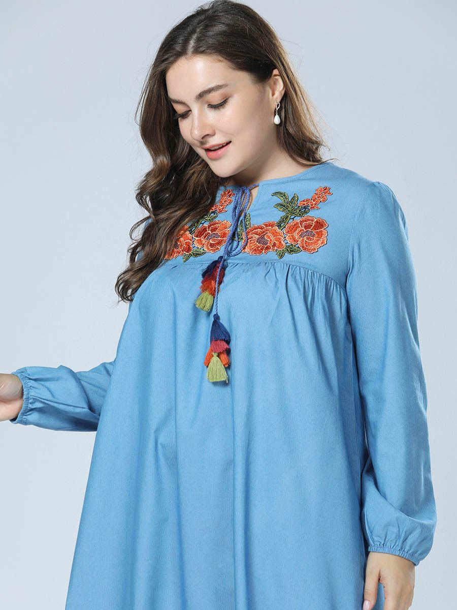 Мусульманское платье синяя джинсовая Абая для женщин плюс размер Исламская одежда, Дубай цветы вышивка Турция турецкий кафтан джинсовый Халат