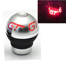 Universal GT Dicetak Merah LED Light Gigi Transmisi Manual shifter Pergeseran Knob Aluminium PU kulit Hot(China)