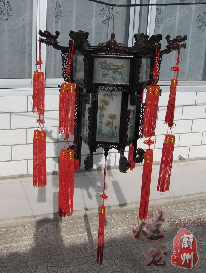 Pure hand carved wooden palace lantern