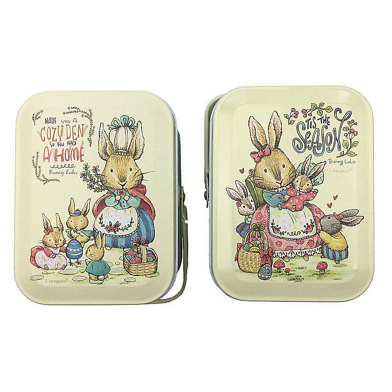 Peter Rabbits Tin Box Jewelry Box Storage Organizer Case Iron Candy Box 10.5X6.2X7.8 սմ Զատիկ զարդերի նվեր