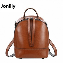 Jonlily Genuine Leather Luxury Women Backpack Travel School Bags For Teenage Girls Small Laptop Backpack Casual Daypack SLI-282