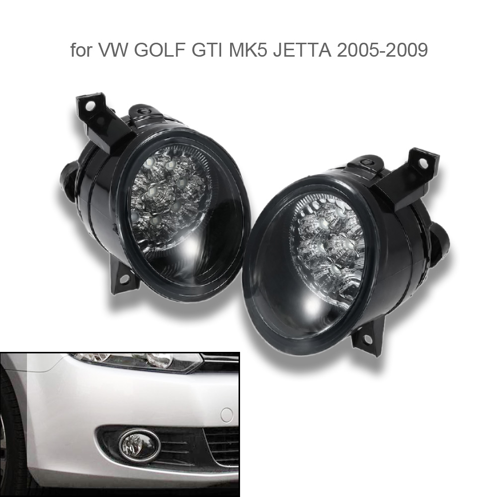 Pair of 9 LED Fog Light Bright White Lamp Left & Right for VW GOLF GTI MK5 JETTA 2005-2009 free shipping for vw golf 5 golf mk5 2004 2005 2006 2007 2008 2009 new front left halogen fog light fog lamp with convex lense