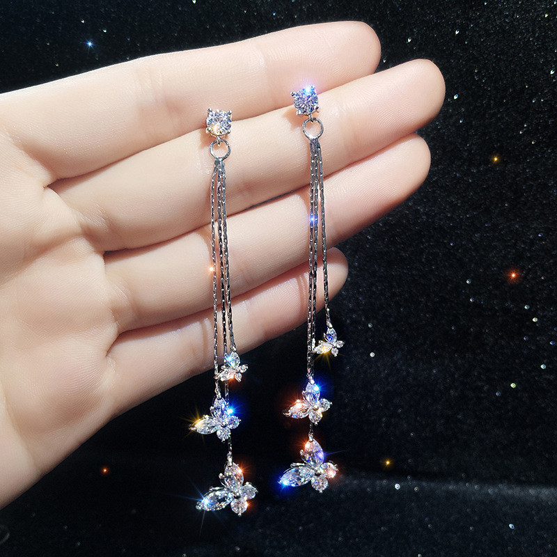 FYUAN Drop-Earring Jewelry Crystal Long-Tassel Butterfly Women For Bijoux Gifts Three