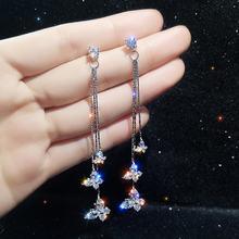 Fyuan блестящие висячие серьги с тремя бабочками и кристаллами