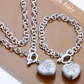 Free Shipping Wholesale Fashion Jewelry Set,Stone Setting TO 2 Piece set,925 Sterling silver Necklace&Bracelet&Earrings T046