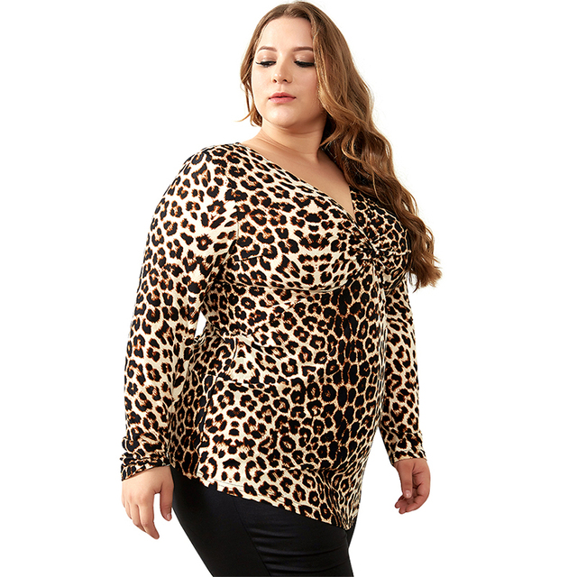 YTL Female Big Size Spring Autumn Grey Leopard Deep V Neck Long Sleeve Slim Tunic Top Large Size Blouses Women 5XL 6XL 7XL H088 2