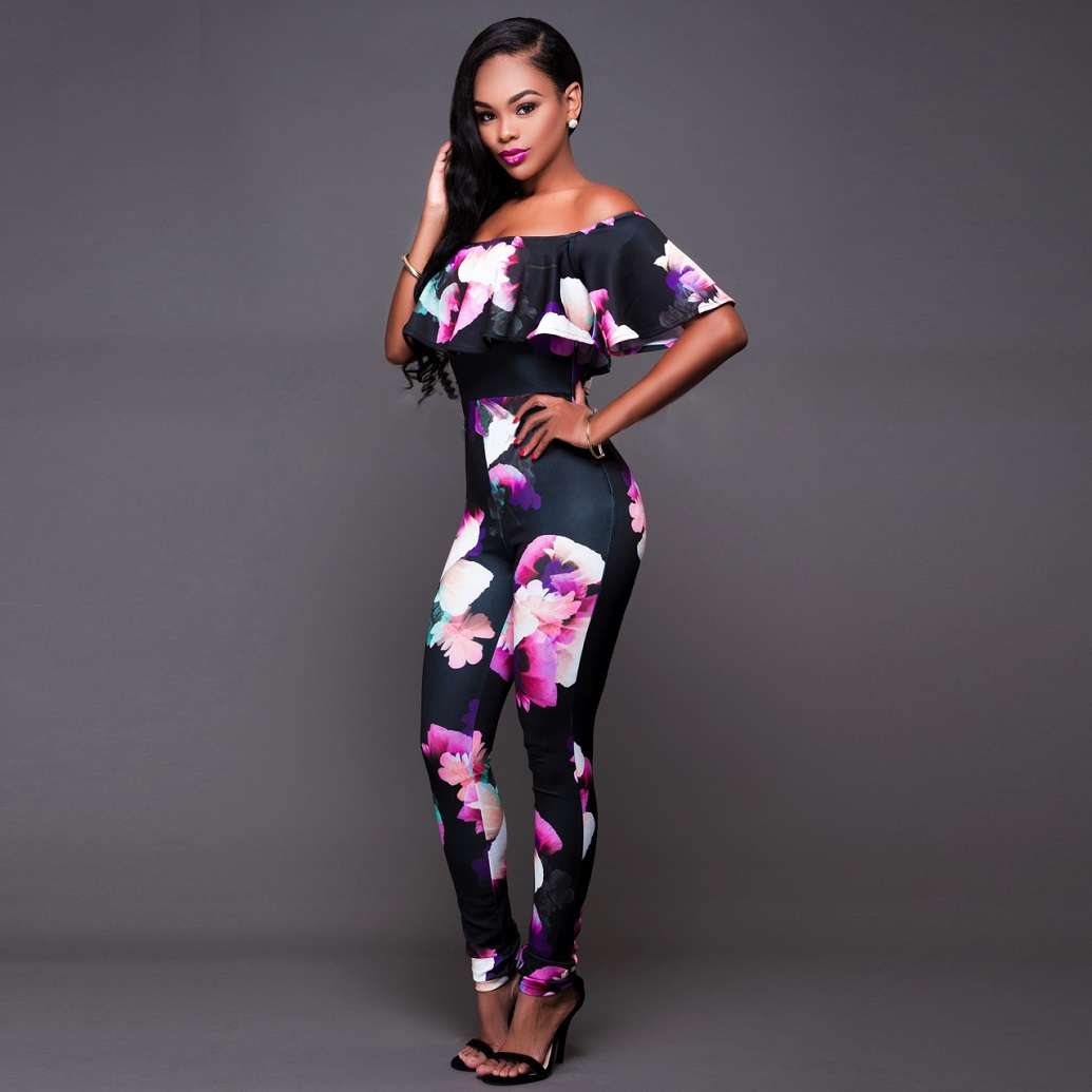 0cf82174569 Long Plus Size Jumpsuits And Rompers For Women Sexy Printed Ruffles Off  Shoulder Slash Neck Skinny Elegant Jumpsuit Hot Sale 4XL-in Jumpsuits from  Women s ...