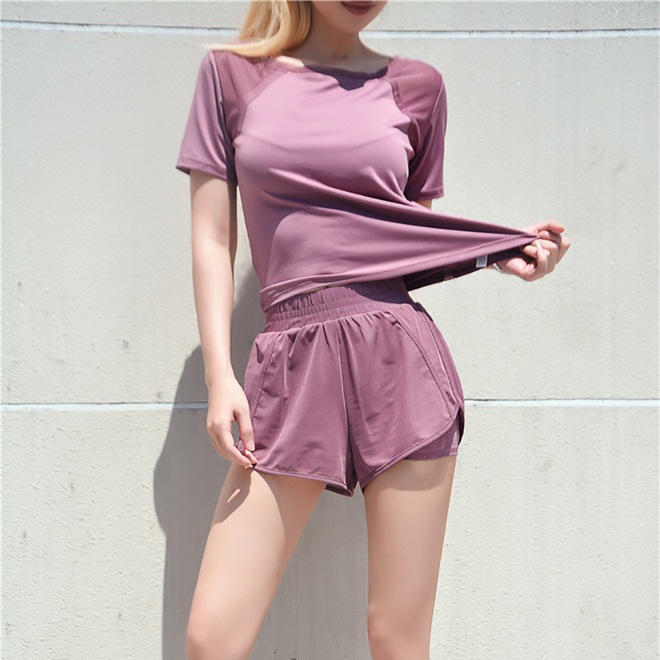 Women's Mesh Yoga Sets Running Tracksuit Fitness Clothing Sportswear Short Sleeve Tops Gym Shorts Breathable Quick Dry Clothes 15