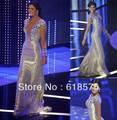 Bling Mermaid Floor Length V-neck Beaded Irene Esser Miss Venezuela Sexy Celebrity Dresses New