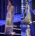 Bling de la sirena piso longitud del v-cuello con cuentas Irene Esser Miss Venezuela Sexy Celebrity vestidos nuevo