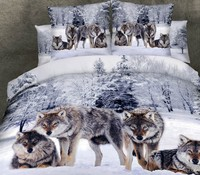 3D Wolf bedding sets animal print california king size queen fitted cotton bed sheets quilt duvet cover double bedspreads 5pcs