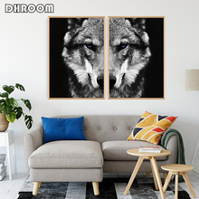 Black and White Art Animal Wall Art Posters and Print Wolf Canvas Painting Modern Decoration Picture for Living Room недорго, оригинальная цена