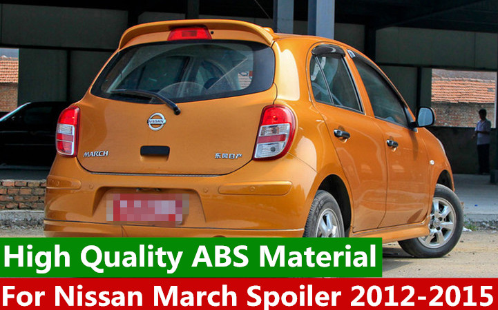 For Nissan March Spoiler High Quality ABS Material Car Rear Wing unpaint Color Rear Spoiler For Nissan March Spoiler  2012-2015For Nissan March Spoiler High Quality ABS Material Car Rear Wing unpaint Color Rear Spoiler For Nissan March Spoiler  2012-2015