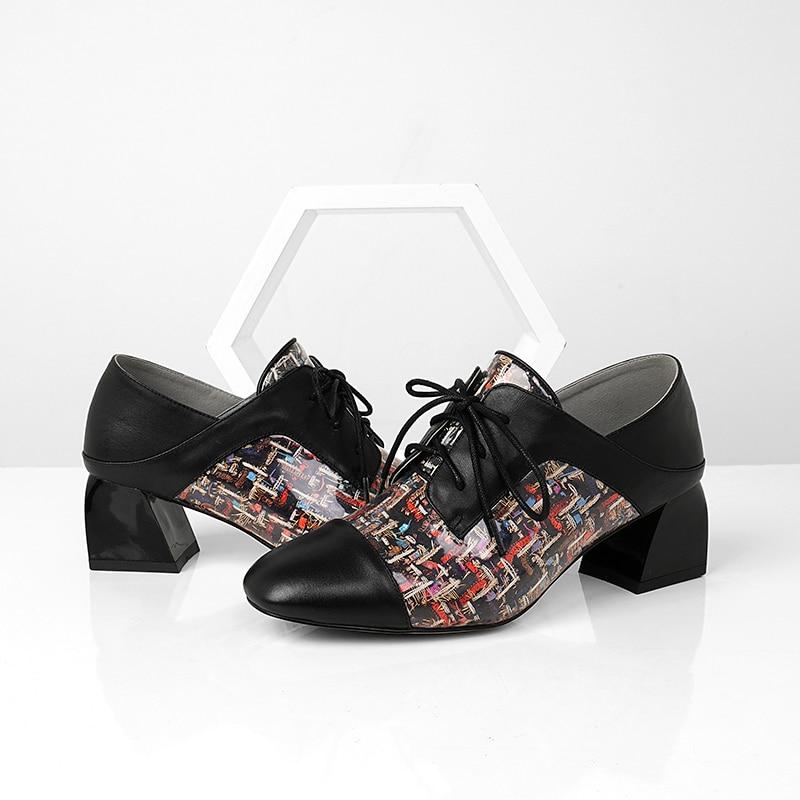 Transparent Talons En Noir Bout Mode Épais Pompes Femme Mules Chaussures Femmes Dentelle Haute Carré Imprimer Cuir Isnom Up HdPUwOqU