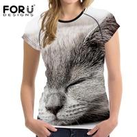 FORUDESIGNS Leuke 3D Slapen Kat Pussy Gedrukt Vrouwen T-shirts Mode Fitness Vrouwelijke Ttshirt Merk Korte Mouw Top Crop T-shirt