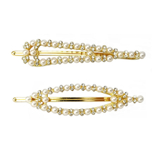Ubuhle 2019 New Pearl Hair Clips for Women Elegant Korean Design Rhinestone Barrette Gold Metal Hairpins Girls Accessories