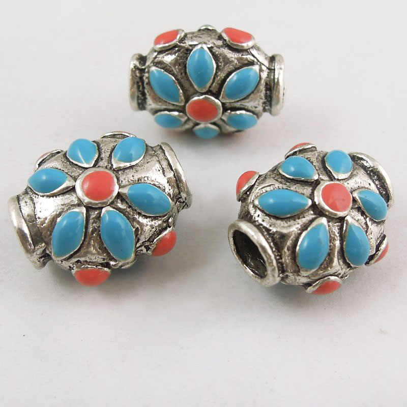 Bohemia 14PCS Tibetan Silver Zinc Alloy Bead With Blue Red Enamel Decored Making Ethnic Style Jewelry Necklace 4mm Hole