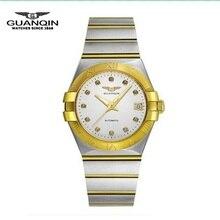 Los Hombres de lujo Reloj de Oro Marca GUANQIN Hombres Reloj Mecánico de La Manera Ocasional Impermeable de Los Hombres Llenos de Acero Relojes de Pulsera relogio masculino
