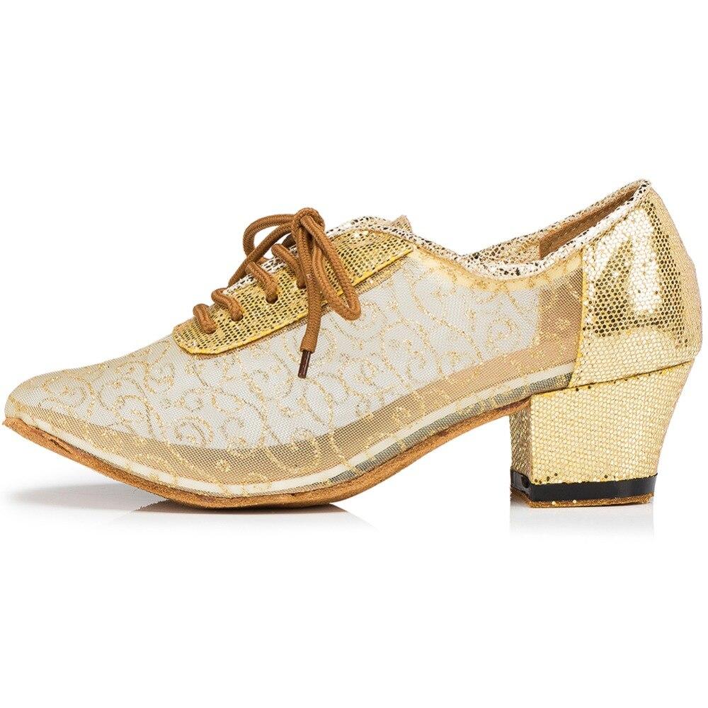 Chaussures marron or Talon Lacent Latine Loslandifen Salle De Or Carré Bal Salsa Danse Femmes Dentelle Respirant Glitter 5 Cm Pompes Noir wfHSq0w