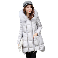 2017 Double Zipper Design Winter Jacket Women Coat Warm Thicken Long Parkas Fur Collar Hooded For Women Jackets Female Outerwear