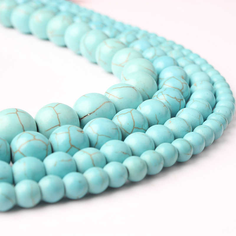 LanLi 4/6/8/10mm natural stone skyblue turquoises Loose Beads Suitable for DIY Fashion bracelet necklace Jewelry Accessories