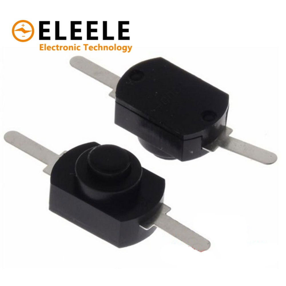 12V DC 1A 12*8mm Black On Off Push-Button Switch for Mini Electric Torch