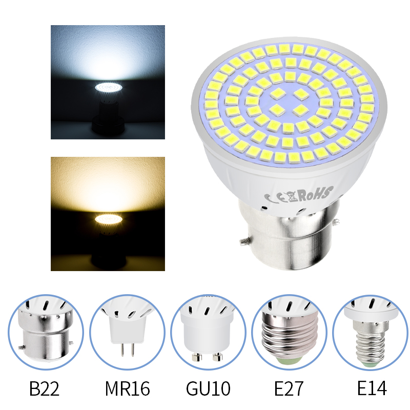 E27 LED Lamp GU10 Spotlight Bulb E14 Lampada 48 60 80leds Lampara GU 10 Bombillas Led 220V MR16 Gu5.3 Spot Light B22 3W 5W 7W