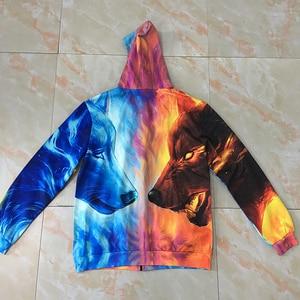 Image 5 - Lód i ogień przez JojoesArt 3D wilk bluzy z kapturem na zamek Unisex Zip Up bluzy męskie bluzy markowa bluza z kapturem sweter Casual Drop Ship